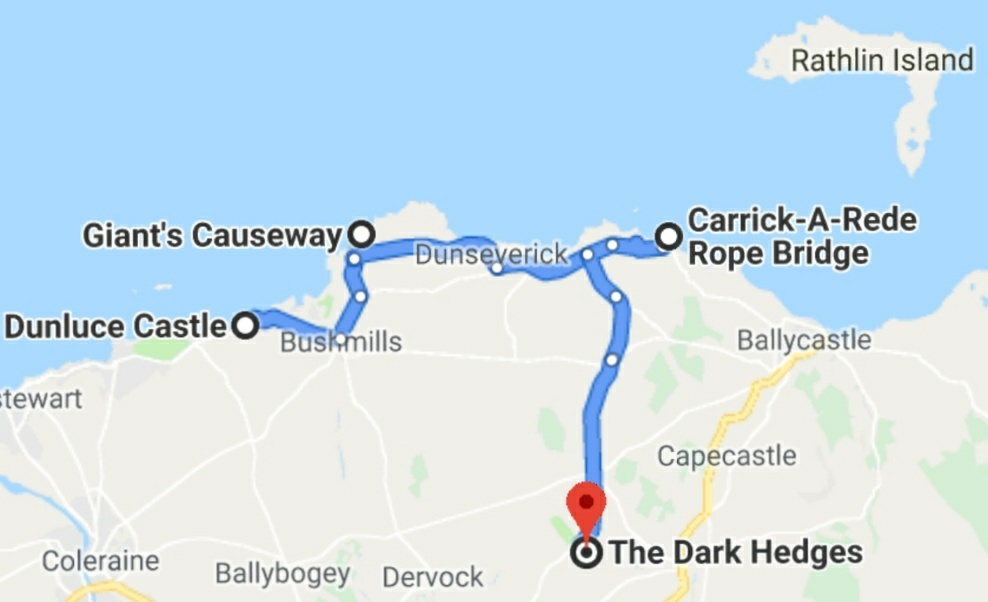 Dunluce Castle to Giant's Causeway to The Dark Hedges to Carrick Rope Bridge